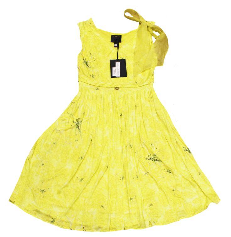 roberto cavalli sommer kleid gelb jersey gr 36 38