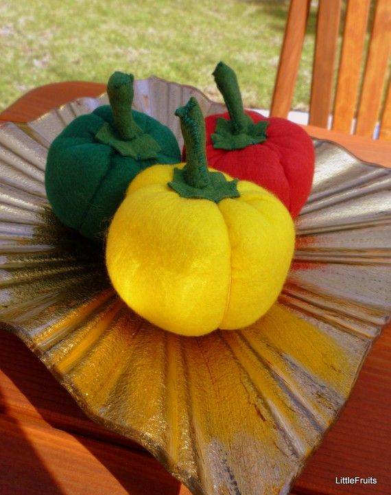 Felt Bell Peppers Childrens Pretend Play Food Handcrafted Toy or Home Decor Set of 3