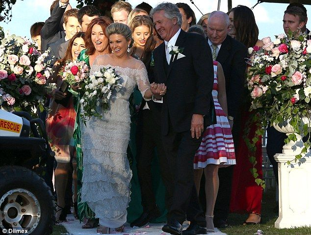 Just married: The cast of Home And Away filmed scenes for the wedding of Marilyn and John at Palm Beach on Sydney's northern beaches on Tuesday
