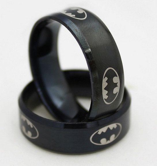 Batman Ring - Batman Wedding Ring - Superhero Ring - Stainless Steel hero Ring - Mens Superhero Ring - Ring for him - Stainless Steel Ring