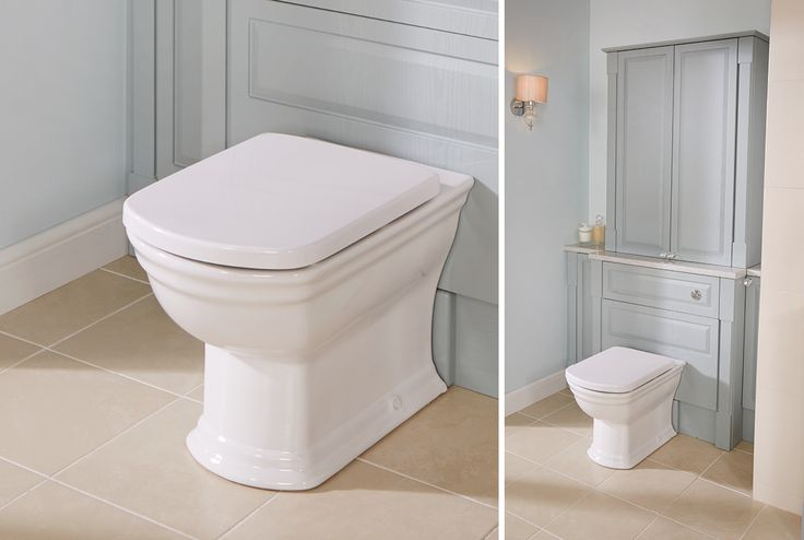 Tall sit-on units in English duck egg with pilasters and a quantum classical back-to-wall pan create an authentic traditional look #fittedfurniture #bathroomfurniture #myutopia