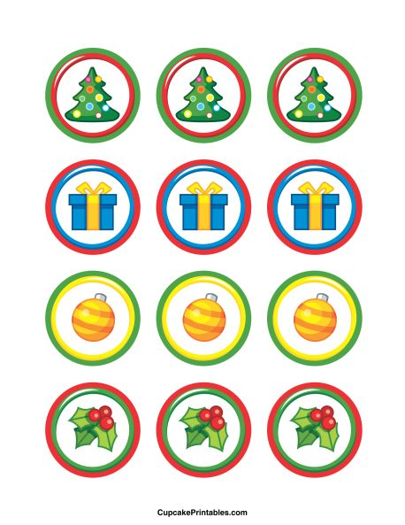 Christmas cupcake toppers. Use the circles for cupcakes, party favor tags, and more. Free printable PDF download at http://cupcakeprintables.com/toppers/christmas-cupcake-toppers/
