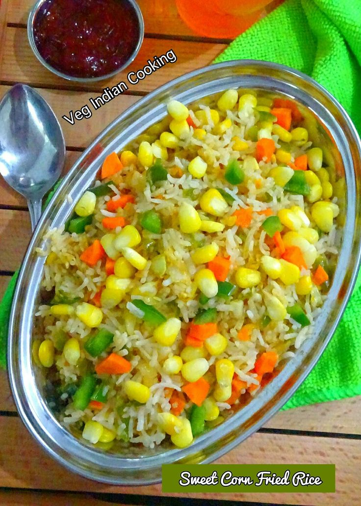 Sweet Corn Fried Rice | Sweet Corn Fried Rice is an Indo Chinese recipe of steamed rice and veggies which are stir fried with sweet corn and colourful veggies and flavoured and spiced with green chillies and fried rice masala powder.  #friedrice #rice #indochineserecipe  #foodblogger #indochinese #vegindiangoodfood #vegindiancooking #yummilicious #yum #indianfoodblogger #sweetcorn #corn #vegetarian #recipe #indianrecipes #easyrecipe