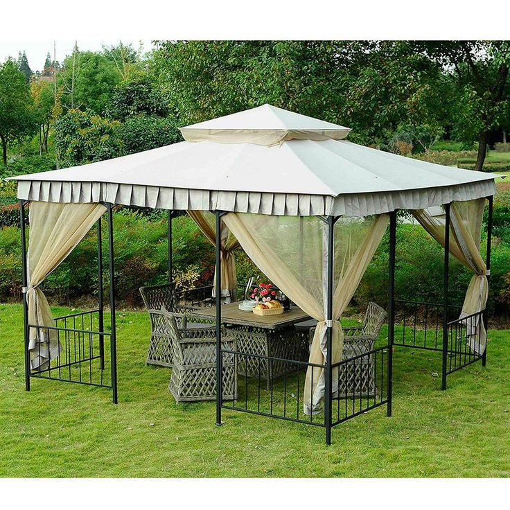 Cool Steel Gazebo Beigeivory Steel Gazebohome Depotgarden With Grill Canopy Home  Depot
