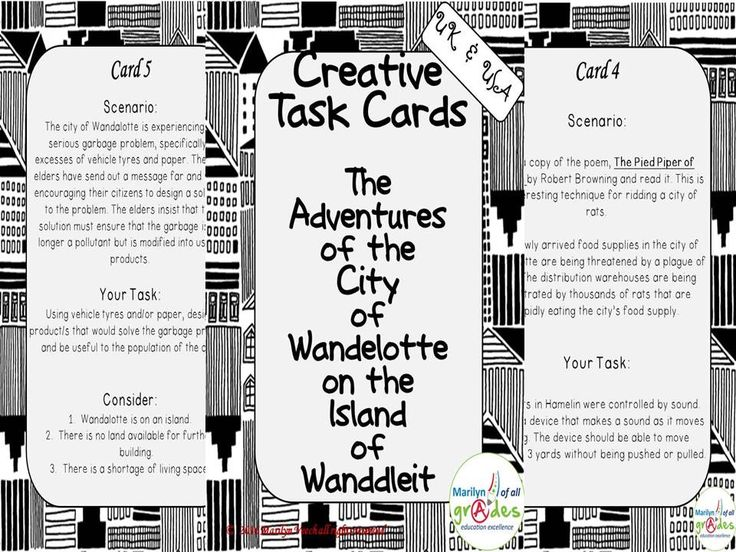 Creative Task Cards - The  Adventures  of the  City  of  Wandelotte  on the  Island  of  Wanddleit