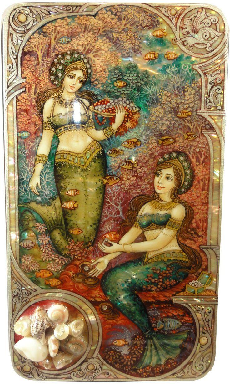 Russian lacquer art - mermaids