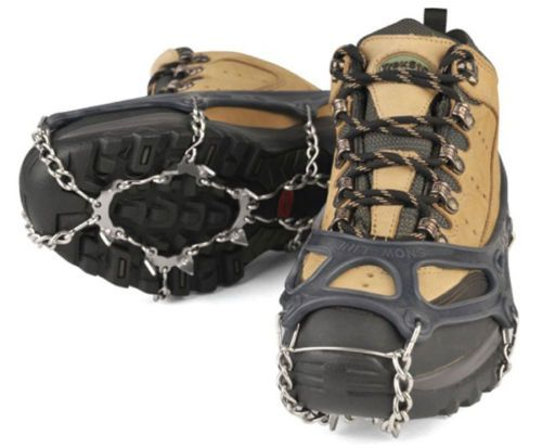 Ice Climbing L10.34~11.22inch Snow Shoe Chain Spike Shoe Crampons -Dark Blue