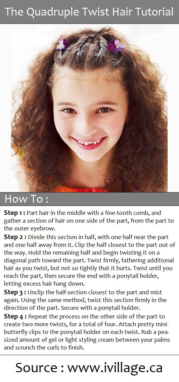 The Quadruple Twist Hair Tutorial No flowers for me, but curly hair cute with the hair style