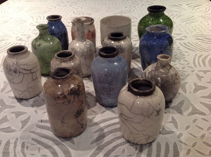 My first collection of small raku bottles