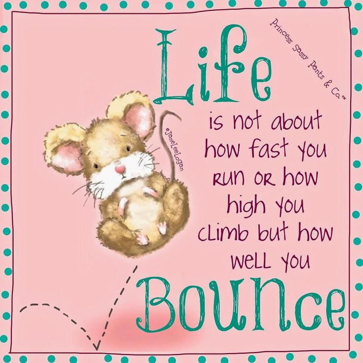 Life is not about how fast you run or how high you jump but how well you bounce. ~ Princess Sassy Pants & Co