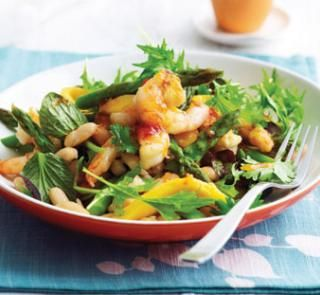 Grilled prawn, mango and asparagus salad   Healthy Food Guide.     Save time by replacing the prawns with shredded barbecued chicken (minus the skin). Add cherry tomatoes and coriander for a perfect summer salad.