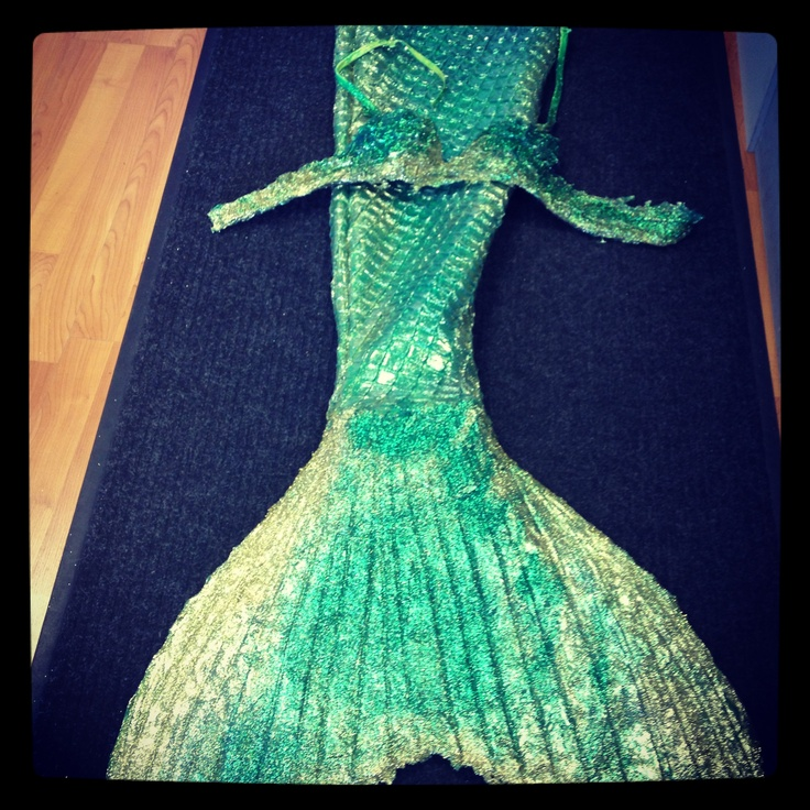 Green Realistic Mermaid Tail And Matching Mermaid Top On