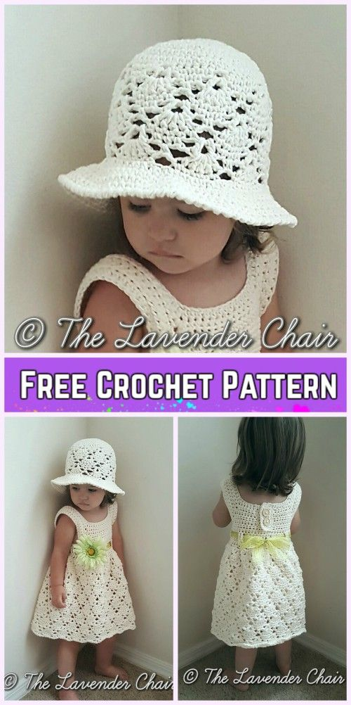 Vintage Toddler Dress&Hat Set Crochet Free Patterns