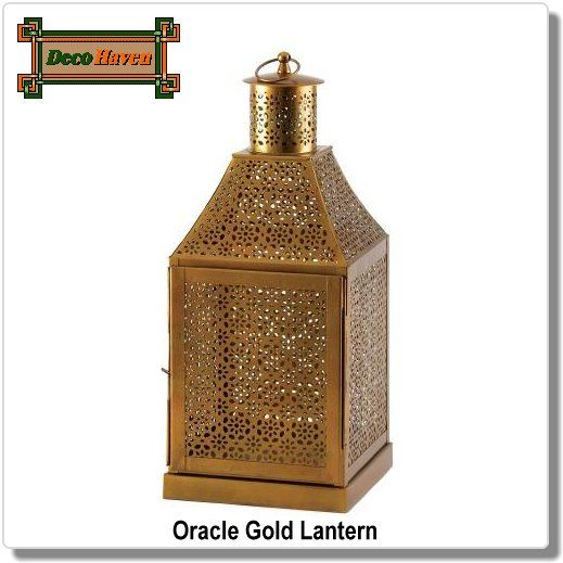 Oracle Gold Lantern - This dramatically large candle lantern sheds light on the unmistakable truth that it is the epitome of exotic design. The floral-inspired cutout pattern adorns its structure from top to bottom, making a fantastic show of light and shadow when a candle is lit inside.  Only $41.97 plus FREE shipping!