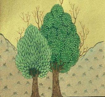 Cahide Keskiner - Minyatür Sanatında Doğa Çizim ve Boyama Teknikleri Osmanlı dönemi iki ağaç