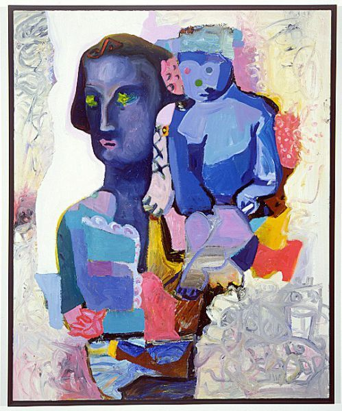 Sandro Chia - Mother and Son in Blue