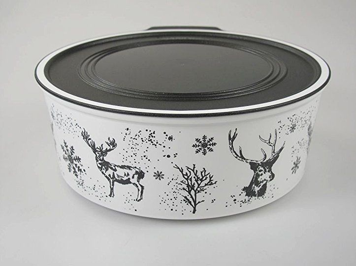 TUPPERWARE Quadro 1,5 L weiß schwarz runde Keksdose Weihnachten ...