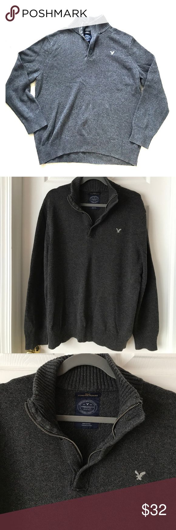 American Eagle Men's Half-Zip Sweater Super warm and super cozy men's half-zip sweater from American Eagle. Only worn a handful of times. Half-zipper also includes buttons as pictured for an even nicer look. Great for any occasion! American Eagle Outfitters Shirts