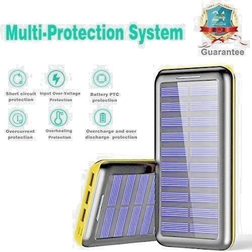 Plochy Solar Charger 24000mah Power Bank Plochy Portable Charger Solar Phone Cha Plochy Black Headphones Solar Charger Wireless Headset