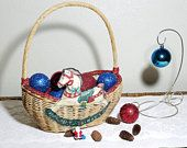 Vintage Wicker Basket Rocking Horse Applique
