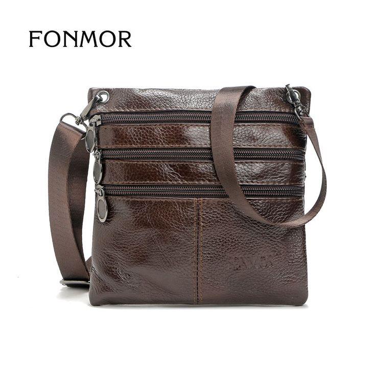 FONMOR New Men's Solid Real Leather Messenger Bag Vintage Small Cross Body Bags Genuine Leather Shoulder Bag For Man #Affiliate