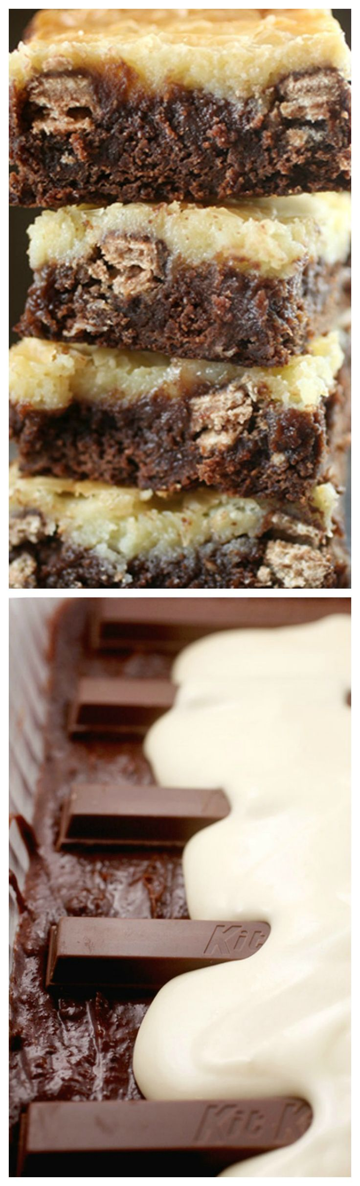 Kit Kat Cream Cheese Brownies ~ Chocolatey gooey goodness on the bottom, Kit Kat wafer bars in the middle and covered with a cheesecake topping to keep everything all cozy.