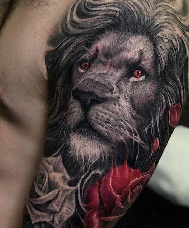 Upper Arm Lion Tattoo Tattoos Lion Tattoo Design Mens Lion