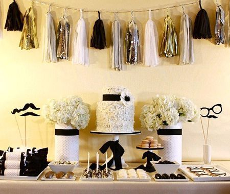 Gold, black, and white party.