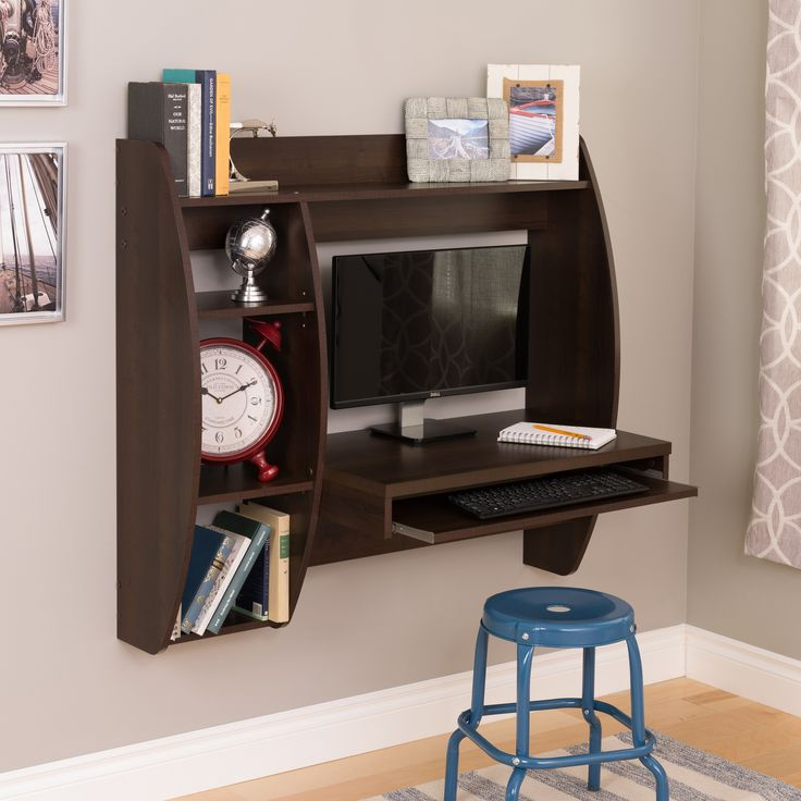 prepac floating computer desk with storage and keyboard tray from - Computer Desk For Small Spaces