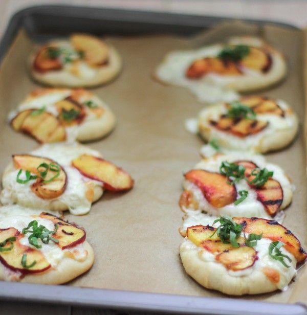 Mini Peach & Basil Pizzas