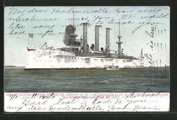 old Pc Kreuzer Brooklyn der US Navy auf See, German Battleship Cruiser 1906