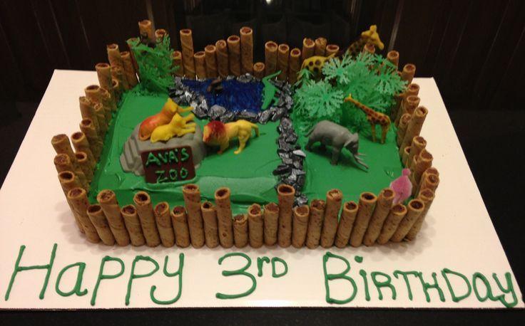 Pin Safari Sheet Cake Jungle Theme Green Color Cute Animal Cake on ...