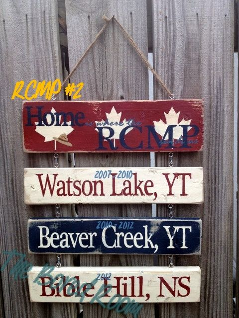 Home Is Where The RCMP Sends Us -- Custom Hanging Sign on Etsy, $49.45 CAD