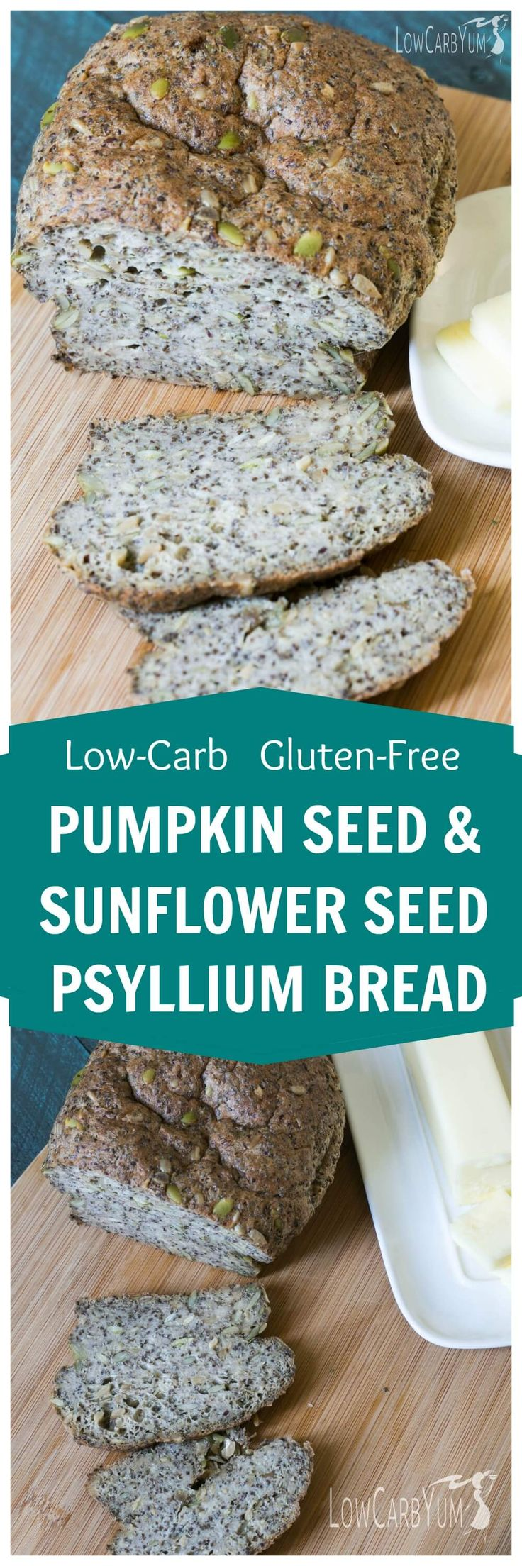 A low carb gluten free pumpkin sunflower seed psyllium bread. It's packed with hearty seeds and fiber. Enjoy it as a snack or along with a meal. | LowCarbYum.com