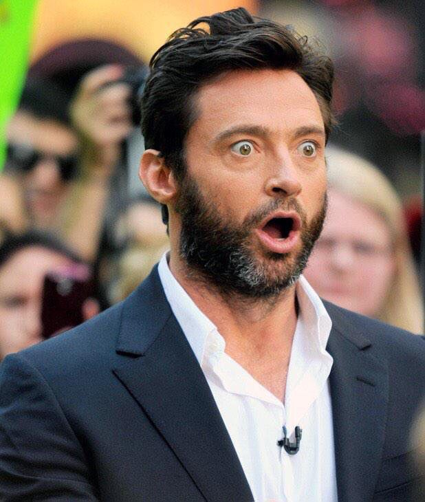 Hugh Jackman surprised face meme worthy pap snap paparazzi d'oh! Oh my in public O wow