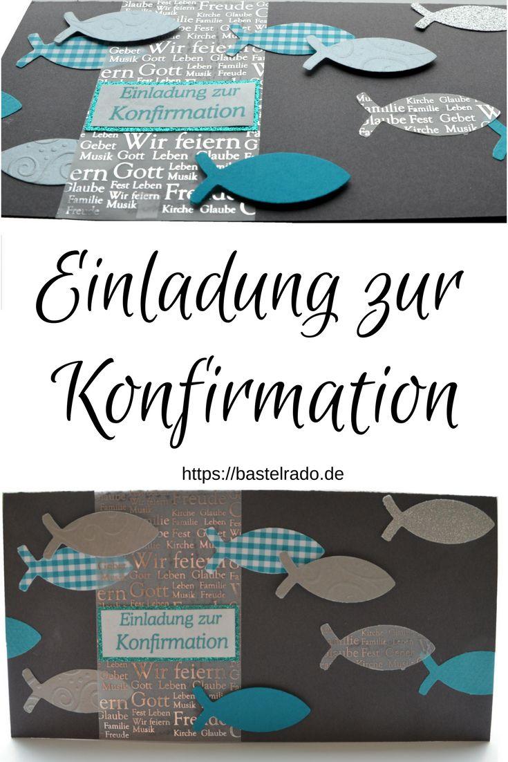 """diy  einladungskarte """"fische"""" zur konfirmation selber"""
