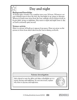 Where is the sun coming from? In this science worksheet, your child learns about the Earth's rotation and how the sun shines on the planet, then draws where the sunlight is coming from.