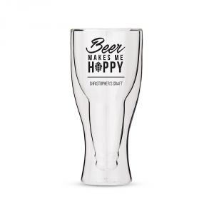 Whatever your brew of choice, enjoy it in this hip, double walled beer glass. The unique double wall construction acts as an insulator to keep the beer icy cold longer without breaking a sweat.