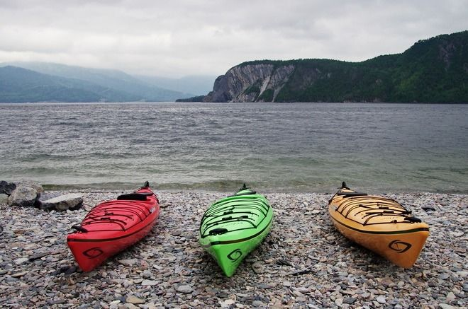 Kayaks ready to go at Norris Point in Gros Morne National Park