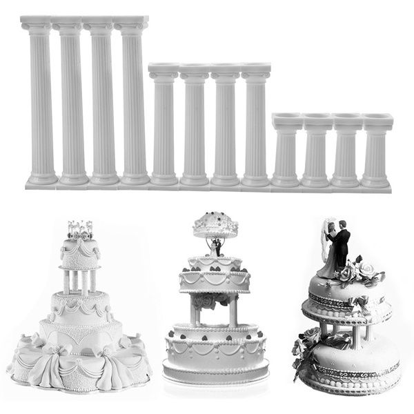 1 Set White Grecian Pillars Wedding Cake Stand Fondant Support Mold Cake Decoration Tools Wedding Cake Decorations Wedding Cakes Wedding Cake Stands