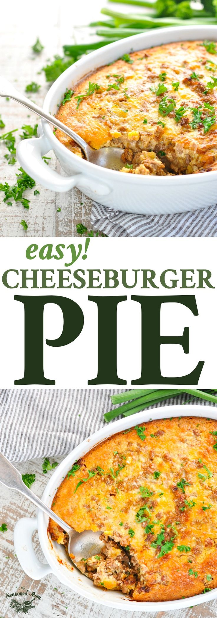Long vertical image of Easy Cheeseburger Pie