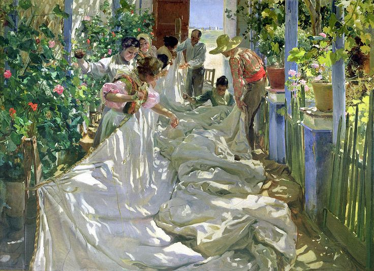 Mending the Sail by Joaquín Sorolla (1863 – 1923) Valencian Spanish artist known for the painting of portraits, landscapes, and monumental works of social and historical themes.