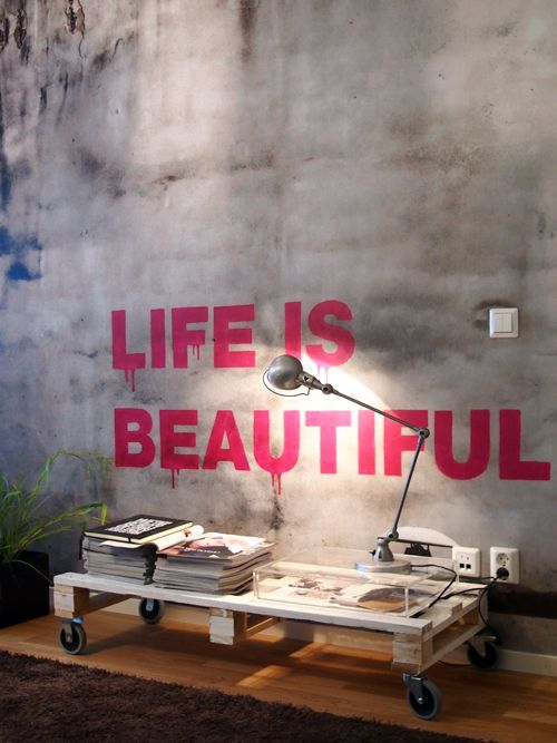 +: Pallets Coffee Tables, Wall Decor, Life Is Beautiful, Decor Ideas, Memorial Tables Pallets, Basements Wall, Interiors Design, Crates Coffee Tables, Wall Words