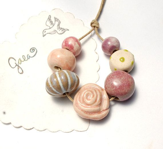 Candy Rose / Sweet Tone Rose Bead Set by gaea on Etsy, $15.50