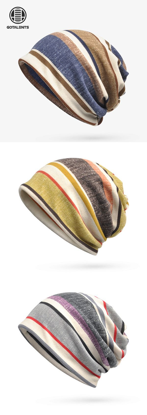 Soft Breathable Stripe Beanies Cap