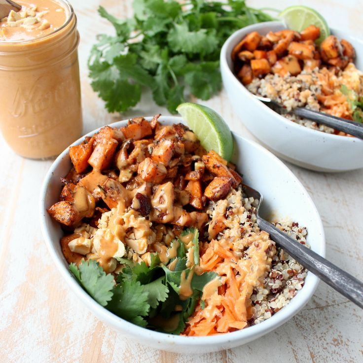 Thai Peanut Sweet Potato Buddha Bowls | vegan Buddha bowl recipe | potluck at ohmyveggies.com