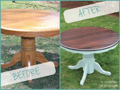 diy Minwax Polyshades (color: Mission Oak) stain and Annie Sloan Chalk Paint in duck egg white