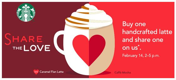 Buy One Latte, Get One Free at Starbucks on Valentine's Day!