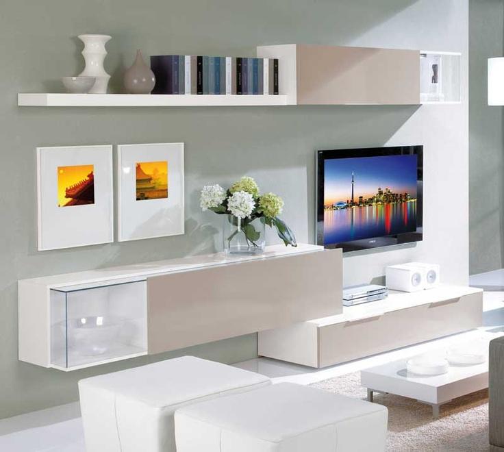 Librería NIZA 300 cm combinada en blanco y arena o ceniza y wengué. Módulo bajo de 2 cajones + módulo vitrina. Módulo alto con armario  + vitrina + estante. 429€