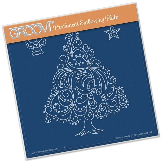 Image result for Groovi parchment embossing plate christmas tree